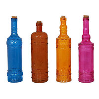 One Kings Lane - Three Hands - S/36 Colored Glass Bottles, Large