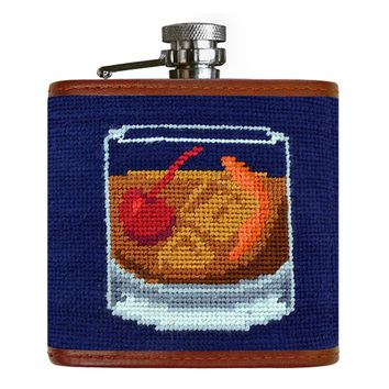 Old Fashioned Flask Needlepoint Flask in Dark Navy by Smathers & Branson