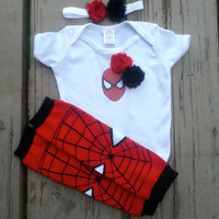 Spiderman Girl Onesuit - Spider Girl - Super Hero - Baby Shower - Halloween - Birthday - 2T, 3T, 4T, 5T