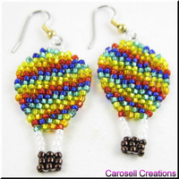Hot Air Balloon Up and Away Beadwork Dangle Seed Bead Earrings