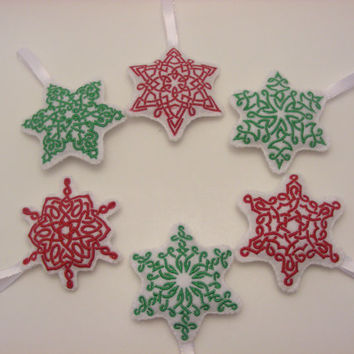 Celtic Knot Snowflake Embroidered Felt Christmas Ornaments Red and Green - Set of 6 - Trinity Crossing