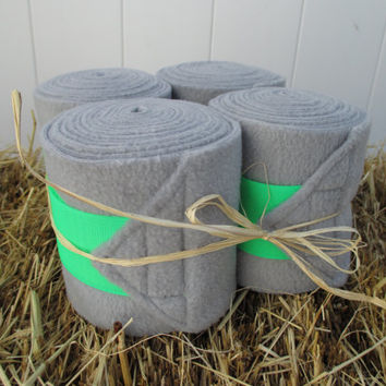 Set of 4 Polo Wraps for Horses- Grey with Neon Green Velcro Closure