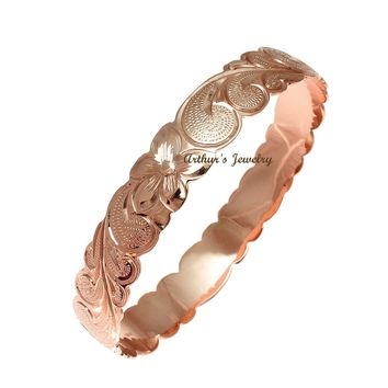 14K Pink Rose Gold Custom Made Classic Hawaiian Heirloom Scroll 6mm Bangle