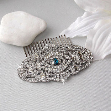 1920s Style Bridal Hair Comb, Art Deco Style Hair Comb, Crystal Hair Comb, Wedding Hair Comb, Wedding Accessories, Something Blue- SCARLETT
