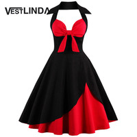 VESTLINDA Vintage 50s 60s Rockabilly Summer Dress 2017 Sexy Halter Women Dress Robe Femme Plus Size Pin Up Retro Dresses Vestido