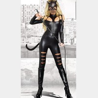 2016 New Arrival Adult Costume Faced Cat Women Leather Jumpsuit Sexy Catwoman Catsuit Black Halloween Costume Whip