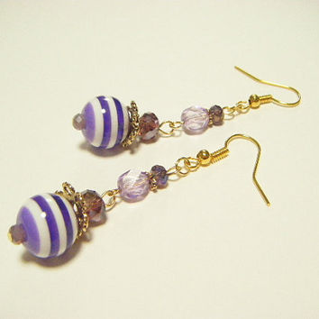 Purple stripe earrings, purple beaded earrings, purple dangle earrings, stripe dangle earrings, kawaii earrings, gift for her, gift under 10