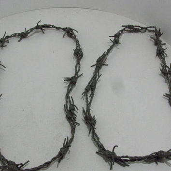 2 Leather barbed wire necklaces..... Gray colored...., 275  bracelet.....hat band...