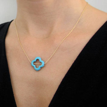 Turquoise Clover Necklace / Gold Clover Necklace / Small Quatrefoil Necklace Also Available In Sterling Silver