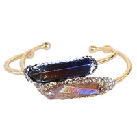 Raw Aura Quartz Pave swarovski Crystal Gold Bangle Cuff Bracelet