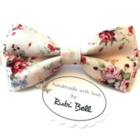 Creamy bow tie, floral tie, gift for a man, bow tie for groom, groomsmen bowties, creamy tie with red flowers, mens neck wear