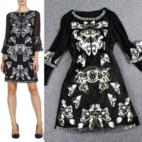 Black Printed Sequined Embroidered Horn Sleeves Mini Dress