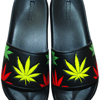 GANJA SLIDES BLACK RASTA