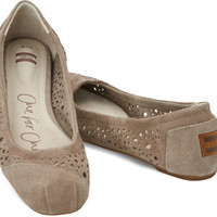 TAUPE MOROCCAN CUTOUT WOMEN'S BALLET FLATS