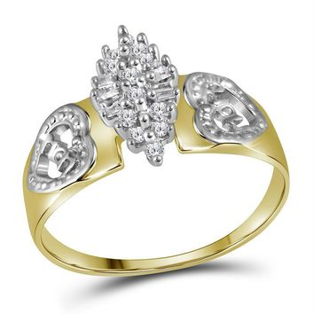 Yellow-tone Sterling Silver Women's Round Diamond Heart Mom Cluster Ring 1-8 Cttw - FREE Shipping (US/CAN)