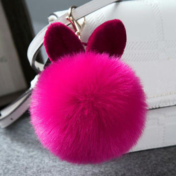 2016 New Rex Rabbit Fur Ball Cell Phone Car Keychain Pendant Charm plush Key Chain PomPom Keyring Bag Handbag W2
