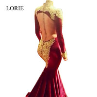 Burgundy Mermaid Long Sleeve Prom Dresses 2017 Dubai Kaftan High Neck Gold Appliques Velvet Backless Evening Dresses Party Gowns