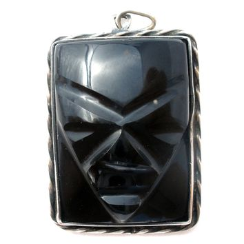 Sterling Silver Black Onyx Mask Pendant Mexican