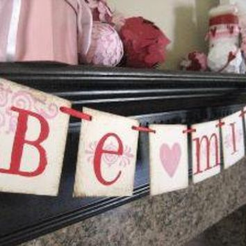 BE MINE Red and Pink Valentine Banner Garland by bekahjennings