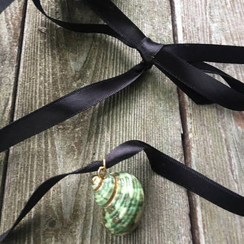 Beautiful Vintage Gold Leafed and glazed Natural Green & mother of pearl Snail Shell Pendant Charm