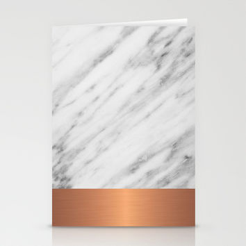 Carrara Italian Marble Holiday Rose Gold Edition Stationery Cards by cafelab
