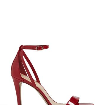Faux Patent Ankle-Strap Heels