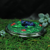 Blue Frog Dendrobates Azureus Poison Dart Frog Mirror Compact Polymer clay decorated double mirror compact