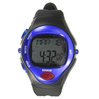 ELEGIANT 06221 Waterproof Unisex Pulse Heart Rate Monitor Calorie Counter Sports Digital Watch with Date /Alarm /Stopwatch blue