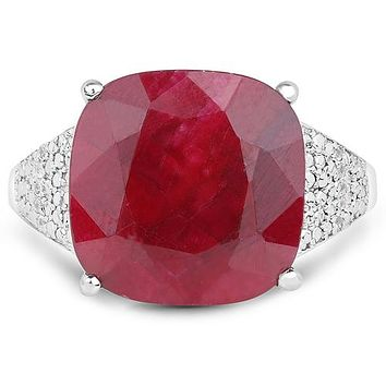 A Natural 14.42CT Cushion Cut Red Ruby White Topaz Accented Ring