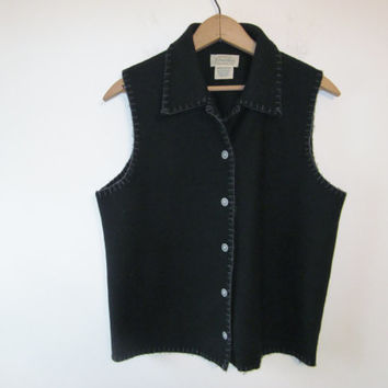 Vintage 80s Black Wool Vest Button Front Collared Black Vest with Stitching Trim Ladies Womens Size Medium
