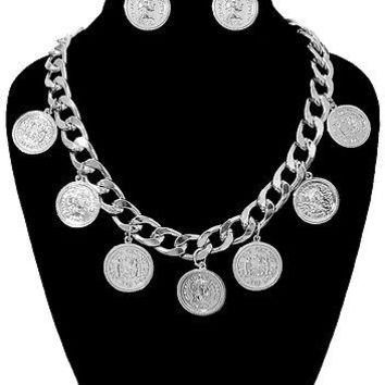 Silver COIN LINK CHAIN Statement Metal Necklace & Earrings Set