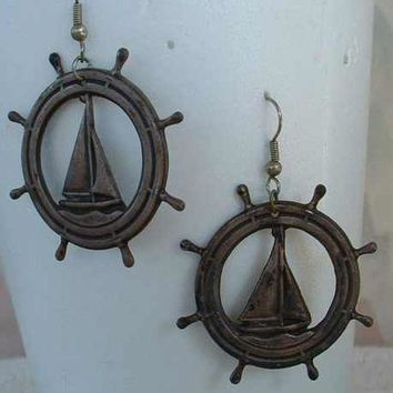 Large Antiqued Brass Hoop Dangle Sailboat Earrings Vintage Jewelry