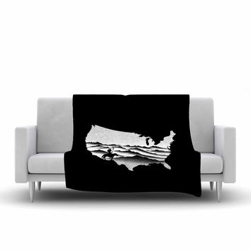 "BarmalisiRTB ""Native American"" Black White Digital Fleece Throw Blanket"