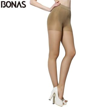 BONAS 30D Cheap Tights Women Fashion Slim Brown Sexy Nylons Pantyhose Seamless Solid Color Designer Lolita Elasticity Pantyhose