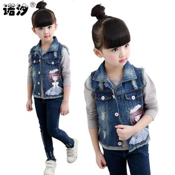 Trendy Girls clothes kids cotton denim jacket baby girls spring autumn cartoon pattern outwear fashion waistcoat cowboy vest 2-11 Y AT_94_13