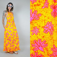 vtg 60's NEON Hawaiian floral Maxi halter Resort sundress pocket Open back long lines