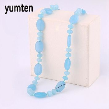 Yumten Aquamarine Necklace Power Natural Stone Crystal Women Jewelry Price Natural Pearls  Pingente Panda One DirectionKawaii Pokemon go  AT_89_9