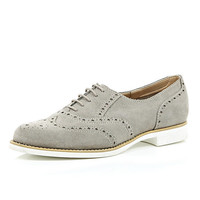 River Island Womens Grey suede lace up brogues
