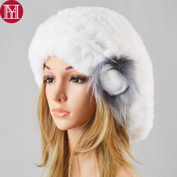 New Fashion Lady Good Elastic Beret Knitted Rex Rabbit Fur Beanies Hat Women Winter Rex Rabbit Fur Hats 100% Real Rabbit Fur Cap