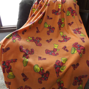 Fleece Twin or Lap Blanket Made From The Flash Fabric - Lap Blanket, Stadium Blanket. Throw - Orange, Red, Yellow