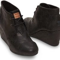 BLACK METALLIC SYNTHETIC LEATHER WOMEN'S DESERT WEDGES