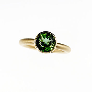 Ready to ship size 5, Green tourmaline engagement ring, yellow gold ring, bezel engagement, solitaire, contemporary, green, tourmaline