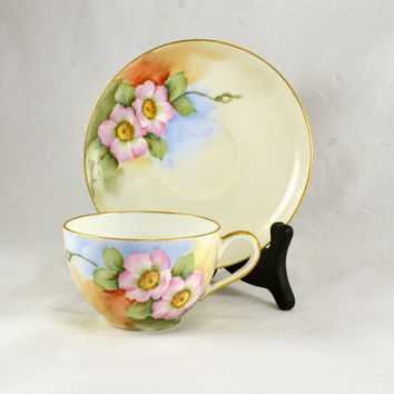 Limoges Tea Cup -  Matching Saucer - Hand Painted France  - Wild Pink Roses Gold Trim - B&R Co. Vintage Tea Party Display