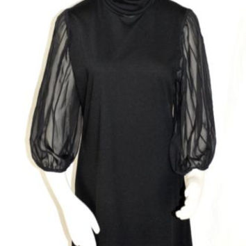 Soft Surroundings Size Medium Black Dress Sheer Sleeves  Turtleneck