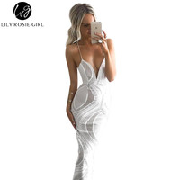 Deep V Neck White Lace Sexy Dress Women Strap Backless Maxi Long Dresses Split Back Evening Party Club Girls Dress Vestidos