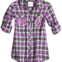 Plaid Shirt With Embellished Pockets | Girls {category} {parent_category} | Shop Justice