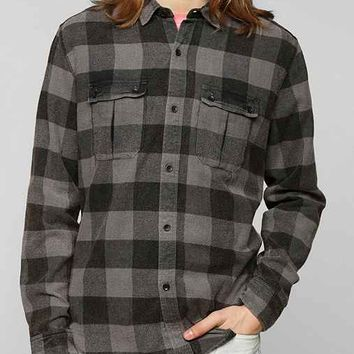 Devil's Harvest Washed Buffalo Plaid Button-Down Shirt- Black XS