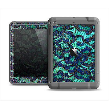 The Blue & Teal Lace Texture Apple iPad Air LifeProof Fre Case Skin Set