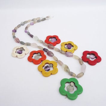 Howlite and Fluorite Chunky Necklace, Floral Necklace, Summery Necklace, Gemstone, UK Seller