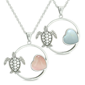 Amulets Cute Sea Turtles Love Couples Set Heart Pink Cats Eye Simulated Opalite Pendant Necklaces